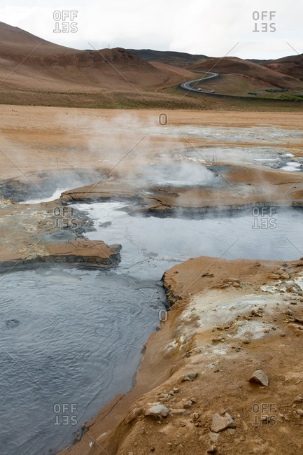 A view of the steaming mud pots geothermal area near Lake Myvatn
