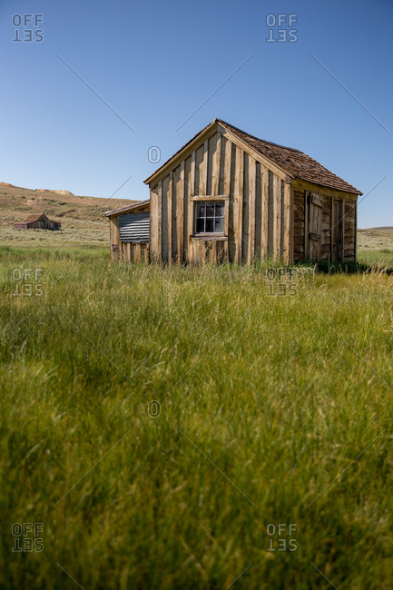 Remaining structures in Bodie Ghost Town, a historic gold mining town in the Sierra Nevadas