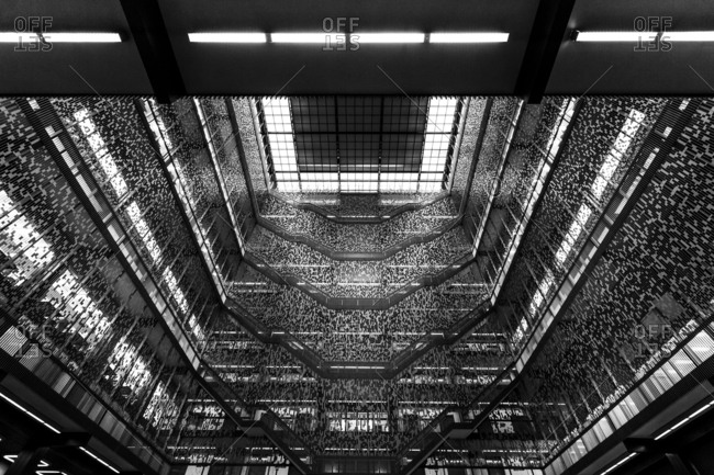 New York, New York, USA - December 28, 2015: The Elmer Holmes Bobst Library, often referred to as simply Bobst Library or Bobst, is the main library at New York University in Manhattan