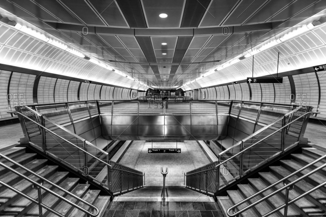New York, New York, USA - December 28, 2015: 34th Street-Hudson Yards is a New York City Subway station in Manhattan's West Side on the IRT Flushing Line, and is the western terminus for the 7 local and <7> express services