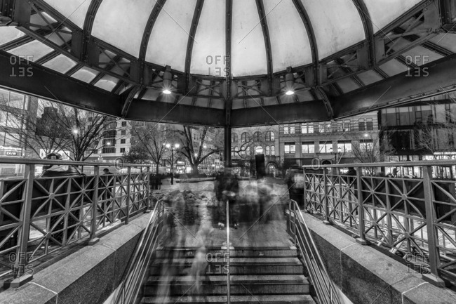 New York, New York, USA - December 28, 2015: 14th Street-Union Square is a New York City Subway station complex shared by the BMT Broadway Line, the BMT Canarsie Line and the IRT Lexington Avenue Line. It is located at the intersection of Fourth Avenue and 14th Street, underneath Union Square in Manhattan