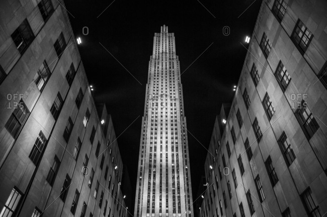 New York, New York, USA - December 28, 2015: Rockefeller Center is a large complex consisting of 19 highrise commercial buildings covering 22 acres between 48th and 51st Streets in New York City