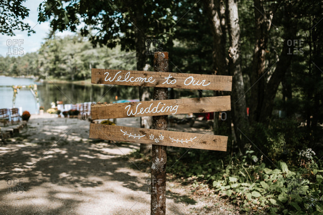 """""""Welcome to Our Wedding"""" wooden sign"""