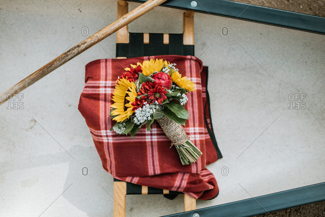 Bridal bouquet on a canoe seat