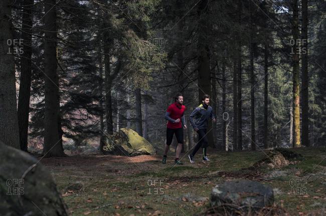 Two men running in woods