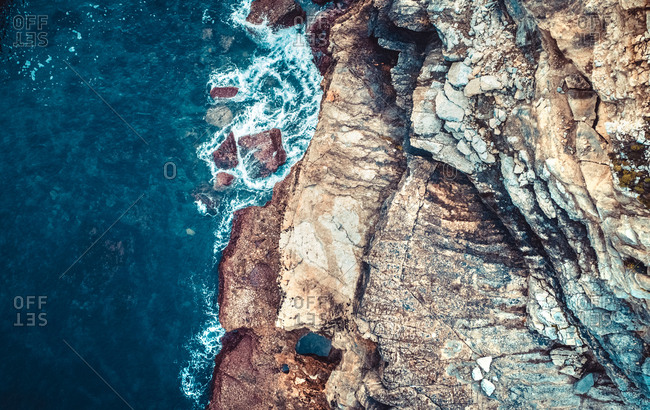 Aerial view of the rocky coast in Asturias, Spain