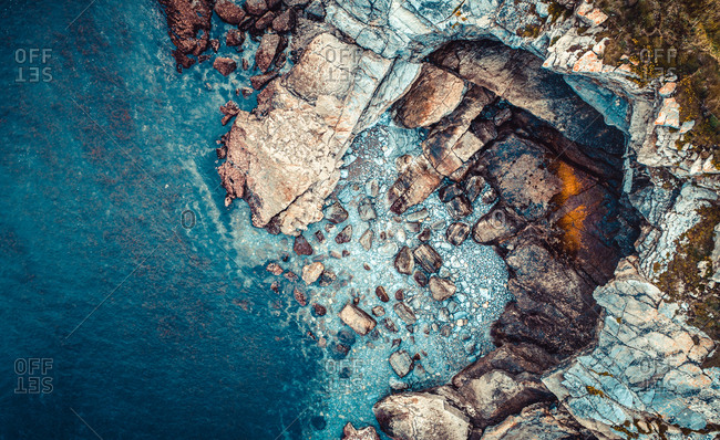 Bird's eye view of the rocky coast in Asturias, Spain
