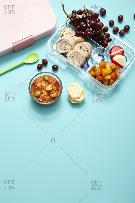 A lunch pack on blue background