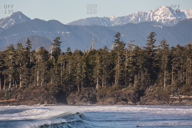 Waves near snow capped mountain