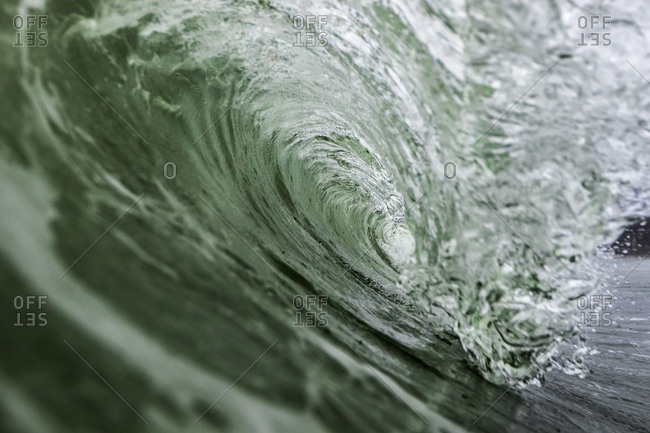 Interior of a cresting wave