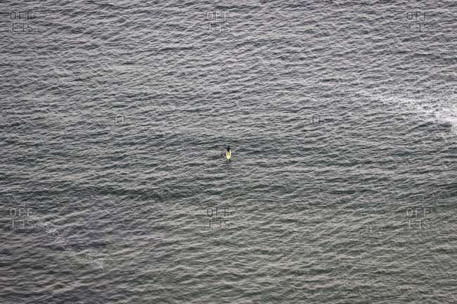 Surfer on board seen from above