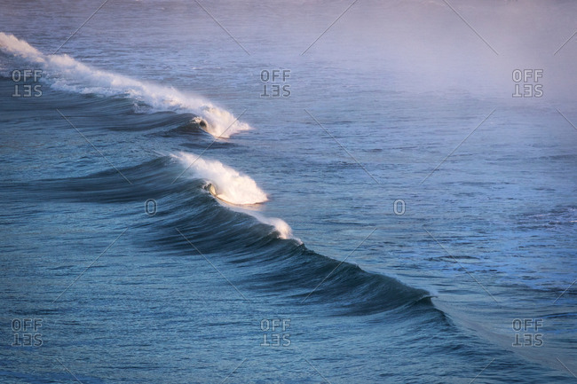 Cresting waves seen from above