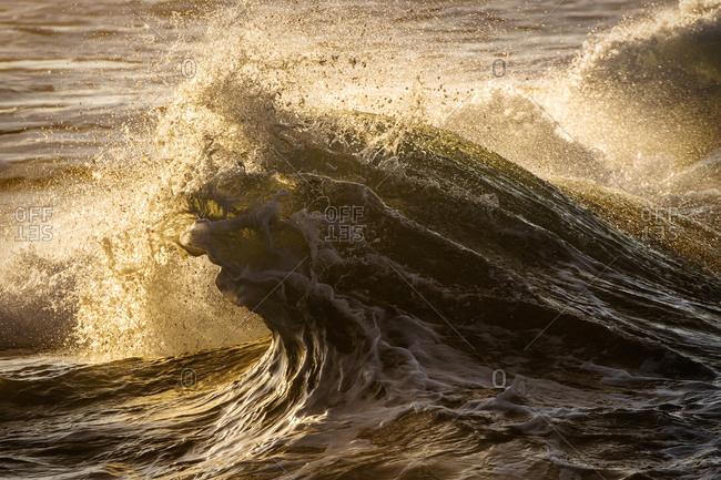 Waves lit by sunlight