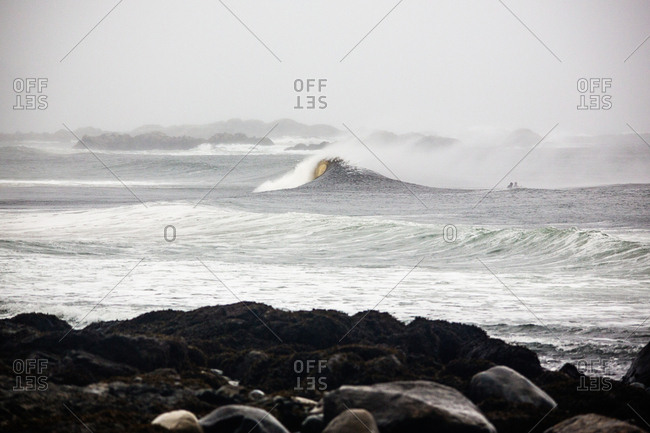 Waves on a misty sea
