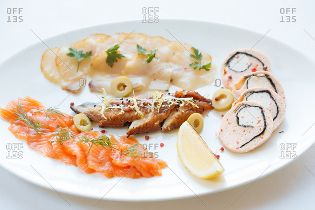 Variety of seafood on a plate