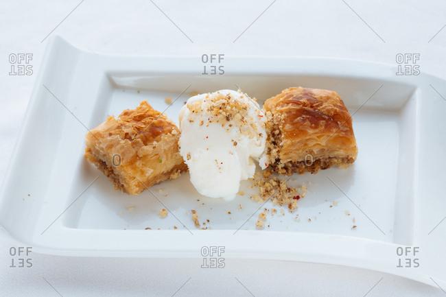Flaky pastry with ice cream