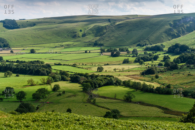 Rolling hills in England countryside
