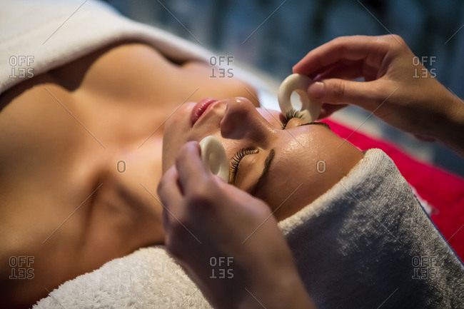 Woman at spa procedure