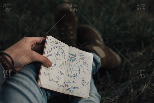 Close-up of small book with painted mountains in hands of male traveler sitting on grass.