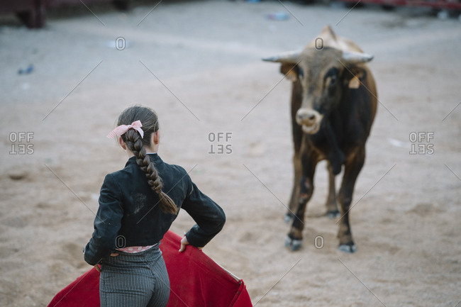 Corrida. Matador woman Fighting in a typical Spanish Bullfight