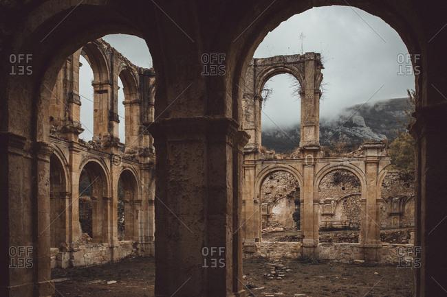 Exterior view of ruined remnants of beautiful monastery of Santa Maria De Rioseco.