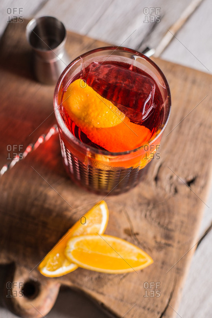 Negroni cocktail (old fashioned) with gin, vermouth and