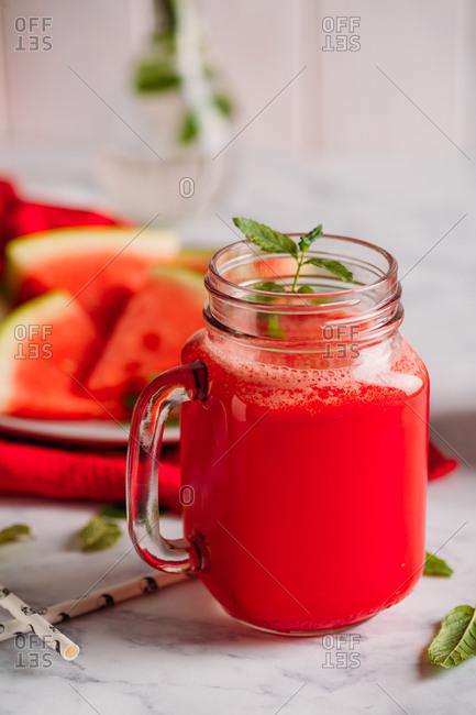 Watermelon smoothies in mason jar