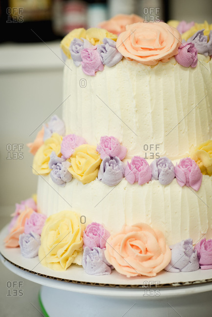 Homemade cake with flowers buttercream frosting