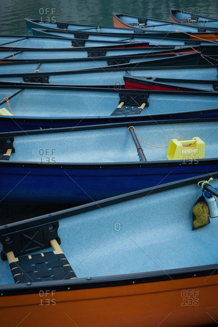 Moored boats on lake - Offset