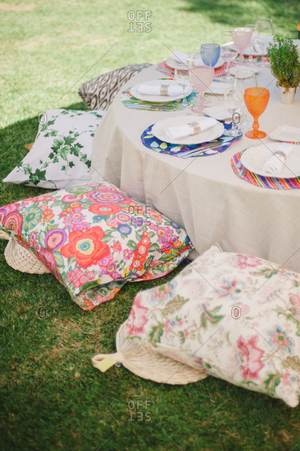 Low to the ground table at a garden party