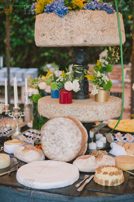 Cheese and snacks on a table at a wedding