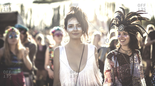 Fans dressed up at a music festival