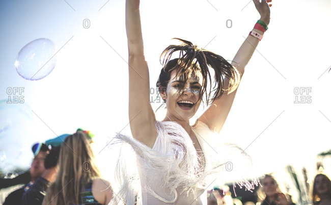 Girl dancing at a music festival