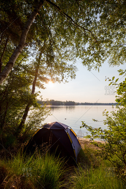 Camping tent at the lake