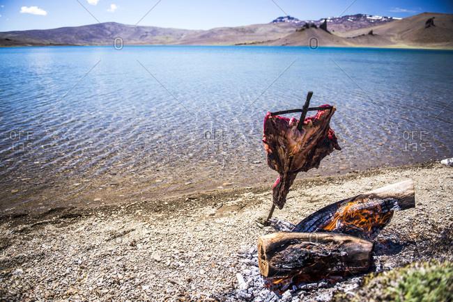 Argentina, Santa Cruz, Patagonia, Asado (traditional Argentinian barbeque) in Perito Moreno National Park