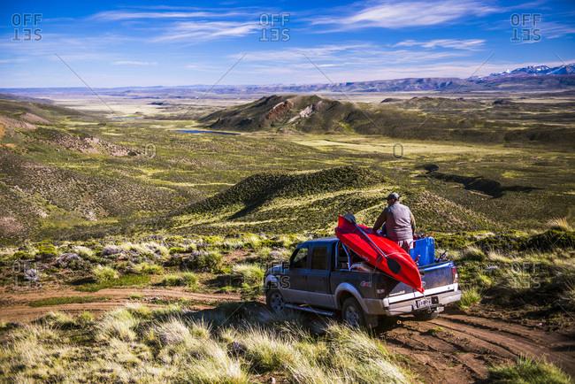 January 19, 2015: Argentina, Santa Cruz, Patagonia, 4wd exploring Perito Moreno National Park