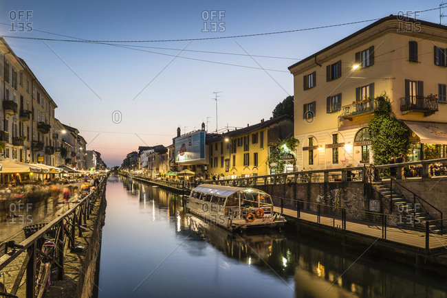 August 26, 2016: Italy, Lombardy, Milano district, Milan, Naviglio Grande at dusk
