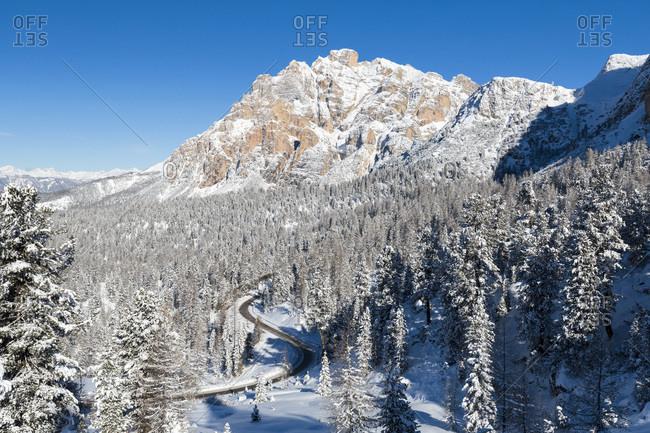 Italy, Trentino-Alto Adige, Bolzano district, South Tyrol, Alta Badia, Alps, Dolomites, Valparola towards Conturines