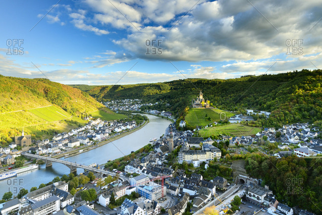 October 5, 2016: Germany, Deutschland, Rhineland-Palatinate, Rheinland-Pfalz, Cochem, Saxon Wine Route, S_chsische Weinstrasse, View over Cochem and surrouding wineyards along german wine road (weinstrasse)