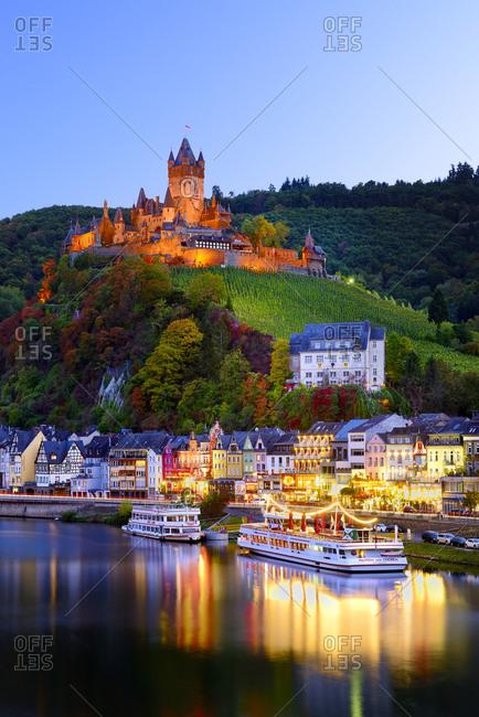 October 5, 2016: Germany, Deutschland, Rhineland-Palatinate, Rheinland-Pfalz, Cochem, Saxon Wine Route, S_chsische Weinstrasse, Castle of Cochem