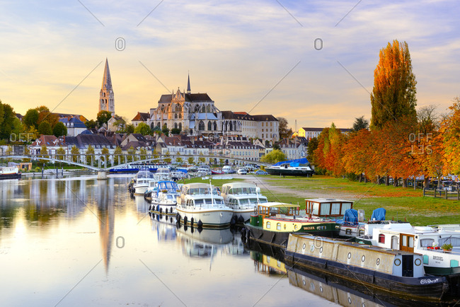 October 31, 2016: France, Bourgogne-Franche-Comte, Auxerre, Yonne, Auxerre Cathedral, city center and Yonne river
