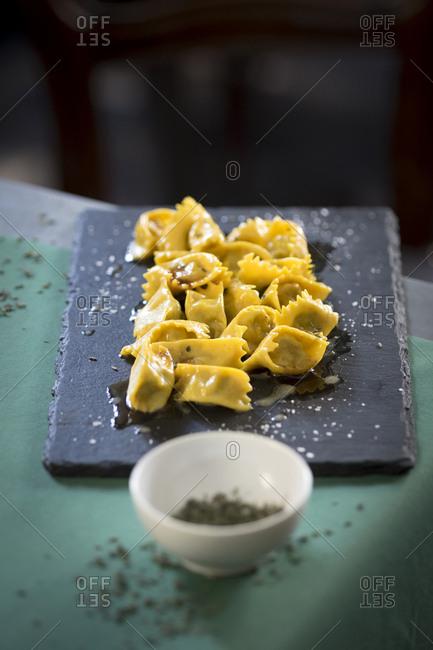 Italy, Piedmont, Torino district, Turin, Scannabue restaurantDish of agnolotti