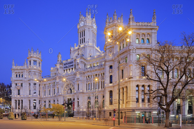 December 19, 2016: Spain, Comunidad de Madrid, Madrid, Plaza de Cibeles, Madrid district, View of the Palace of Cibeles, the former post building now the Communications building