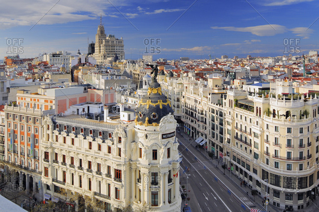September 25, 2017: Spain, Comunidad de Madrid, Madrid, Gran Via, Madrid district, View of the Gran Via with Metropolis building in the foreground and the Telefonica building in the background