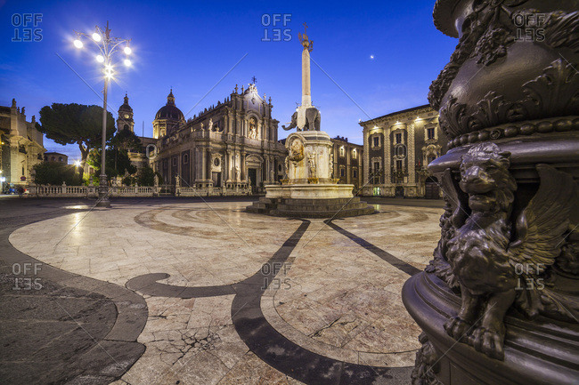 Italy, Sicily, Catania district, Catania, The elephant obelisk, Sant Agata cathedral and Palazzo dei Chierici on the Piazza Duomo