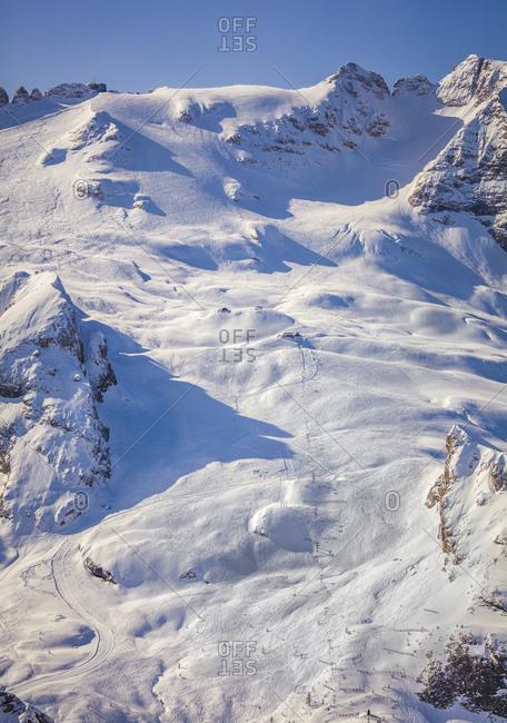 Italy, Veneto, Belluno district, Alto Agordino, Arabba, Alps, Dolomites, Marmolada, view from Porta Vescovo