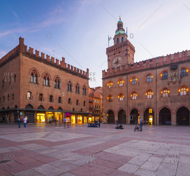 May 25, 2016: Italy, Emilia-Romagna, Bologna district, Bologna, Piazza Maggiore, Palazzo Comunale at sunset
