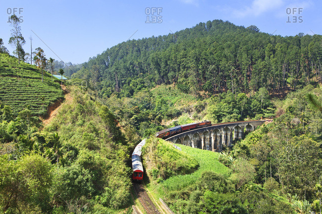 Sri Lanka, Ceylon, Uva Province, A passenger train crossing the Nine Arches Bridge between Ella and Badulla, Kandy to Badulla Railway Line