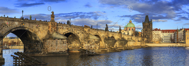 March 6, 2017: Czech Republic, Central Bohemia Region, Prague, Charles Bridge, Bohemia, Vltava, Checy, The bridge over the Vltava (Moldova) river