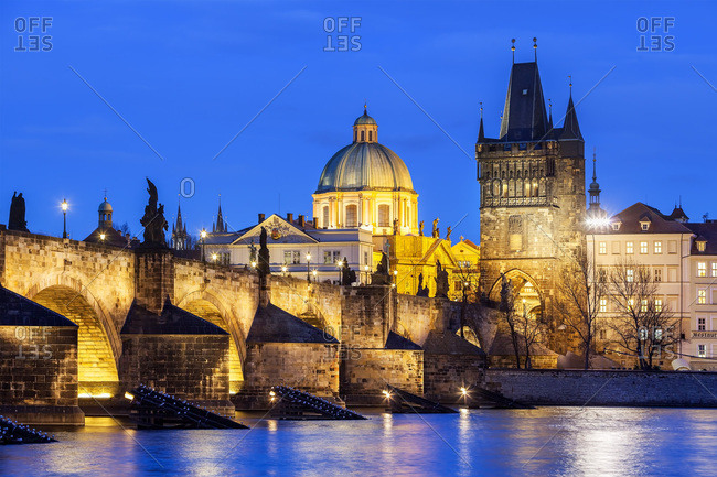 Czech Republic, Central Bohemia Region, Prague, Charles Bridge, Bohemia, Vltava, Checy, The bridge over the Vltava (Moldova) river